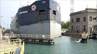 Download Cargo ship time-lapse passing through Welland Canal HD Video