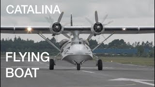 Download Engines starting up take-off flypast and landing US Navy Catalina flying boat Video