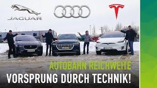 Download Vorsprung durch Technik: Audi e-tron vs Tesla Model X vs I-Pace | Autobahn Verbrauch & Reichweite Video