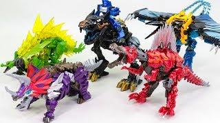 Download Transformers 4 AOE Dinobot Ko OverSized Grimlock Scorn Slag Snarl Strafe Dinosaur Robot Toys Video