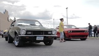 Download 1972 Ford Maverick vs. 2015 Challenger Hellcat at 2015 Duluth Drag Races Video