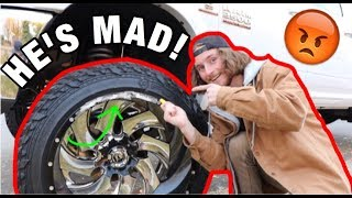Download CURBING MY DADS 24X16 WHEELS ON HIS CUMMINS *PRANK* Video