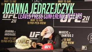 Download Joanna Jedrzejczyk leaves UFC 211 post-fight press conference in tears Video