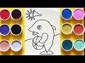 Download Chị Chim Xinh TÔ MÀU TRANH CÁT CÁ HEO DOLPHIN - Đồ chơi trẻ em - Colored sand painting toys Video