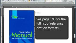 Download APA Format and Citations: Sixth (6th) Edition Video