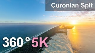 Download Curonian Spit, Sandy Beaches And Dunes, Russia-Lithuania. 360 aerial video in 5K Video
