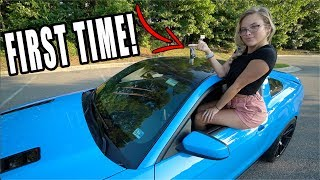 Download Girlfriend's FIRST TIME Driving MANUAL In My MUSTANG GT! Video