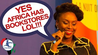 Download African Writer Chimamanda React to Racist Question 'Does Nigeria Have Bookstores?' Video