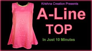 Download A-Line Kurti Cutting and Stitching || A Line Sleeveless Top || Krishna Creation Video