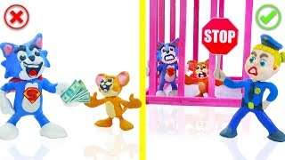 Download SUPERHERO BABY POLICE STOPS TOM AND JERRY 💖 Play Doh Cartoons For Kids Video
