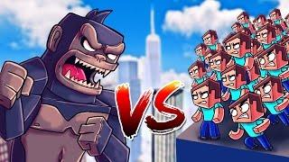 Download Minecraft | 1 KING KONG VS 1000 STEVES! (King Kong Movie Massive Mob Battles) Video