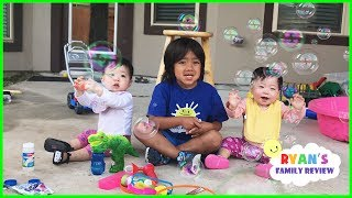 Download Twin Babies First time Playing with Family Fun Giant Bubble Toys! Video