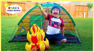 Download Ryan Pretend Play Camping and Fishing in the Backyard with Ryan's Family Review!!! Video