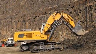 Download Liebherr R970 SME Front Shovel Excavator Loading Liebherr TA230 Dumper @ Steinexpo 2014 Video
