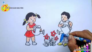 Download Vẽ tranh Bé tưới cây/How to draw Baby watering plants Video