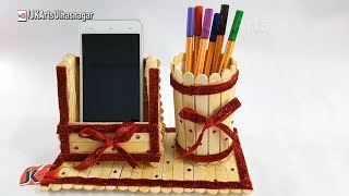 Download DIY Pen stand and Mobile phone holder with icecream sticks | How to make | JK Arts 1232 Video