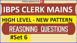 Download High Level New Pattern Reasoning Questions for IBPS Clerk Mains 2018 - 2019 Video