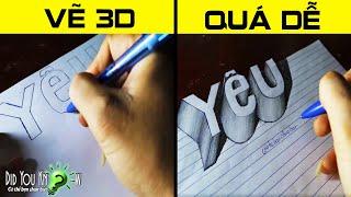 Download Cách vẽ chữ YÊU - Vẽ 3D đơn giản(3D Trick Art) Video