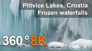 Download 360°, Plitvice Lakes in Winter, Croatia. 8K aerial video Video