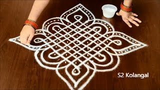 Download sikku kolam with 9 to 1 Straight dots - melikala muggulu designs - knots rangoli Video