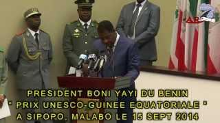 Download PRIX UNESCO GUINEE EQUATORIALE LE PRESIDENT BONI YAYI UN DISCOURS PANAFRICAIN SUR LA RECHERCHE SCIEN Video