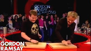 Download James Corden Tells Gordon Jamie Oliver Taught Him To Cook - Gordon Ramsay Video