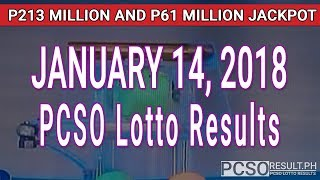 Download PCSO Lotto Results Today January 14, 2018 (6/58, 6/49, Swertres, STL & EZ2) Video
