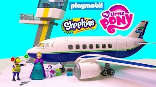 Download Playmobil Passenger Airplane Airport Tower Playset Toy Review with Disney Queen Elsa Shopkins MLP Video