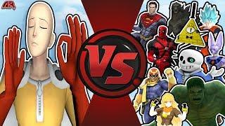Download One Punch Man VS The World (Saitama vs Goku, Beerus, Superman, Hulk, Bill Cipher Sans) OPM Animation Video
