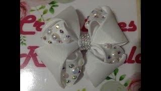 Download Moño blanco decorado con perlas y cristal VIDEO No. 463 creacionesrosaisela Video