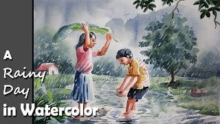 Download How to Paint A Rainy Day scene in Watercolor Video