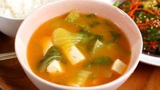 Download Bok Choy Tofu Doenjang Soup (Cheonggyeongchae dubu-doenjangguk: 청경채 두부된장국) Video