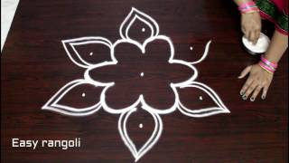 Download easy rangoli designs with 5x3 dots || simple kolam designs with dots || muggulu designs with dots Video