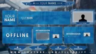 Download Free Graphics: Twitch / Hitbox livestream template pack #2: No theme - Photoshop by @YLLiBzify Video
