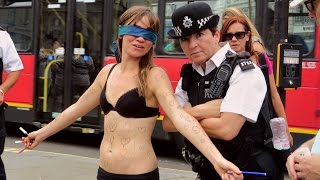 Download Girl Undresses in Public for Courageous Cause Video