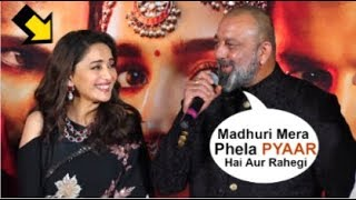Download Sanjay Dutt Openly FLIRTS With Ex-Girlfriend Madhuri Dixit In Front Of Media At Kalank Trailer Video
