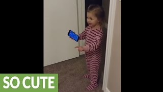 Download Little girl ″shows″ grandpa new home during phone call Video