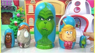 Download Dr. Suess THE GRINCH Nesting Dolls Matryoshka with Cindy Lou, Young Grinch, Fred & Max the Dog Video