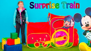 Download MICKEY MOUSE Disney Surprise Train Tent with Batman Lego and Paw Patrol Toys Video