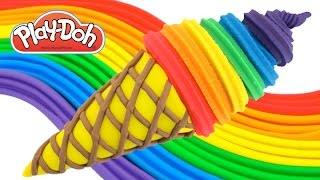 Download Play-Doh How to Make a Waffle Cone with Rainbow Ice Cream * Creative Fun for Kids RainbowLearning Video