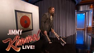 Download Jason Momoa Throws Axes with Jimmy Kimmel & Guillermo Video