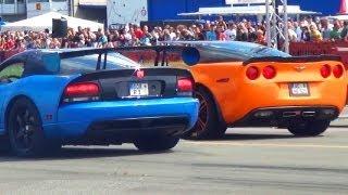Download DODGE VIPER SRT10 vs CORVETTE C6 ZR1 - Drag Race 1/4 Mile SOUND Viertelmeile Rennen Acceleration Video