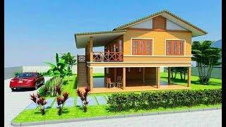Download แบบบ้านสองสไตล์ชนบทครึ่งปูน-ครึ่งไม้ 2 ห้องนอน 1 ห้องน้ำ ชั้นล่างเป็นพื้นที่ครัว ห้องน้ำและที่จอดรถ Video