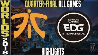 Download FNC vs EDG Highlights ALL GAMES | Worlds 2018 Quarter-Final | Fnatic vs Edward Gaming Video