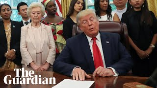 Download Awkward exchanges as Trump meets with religious persecution survivors Video