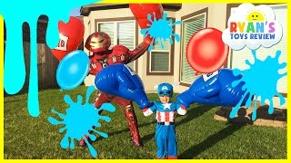 Download Water Balloons Fight Captain America Civil War vs Iron Man Marvel Video