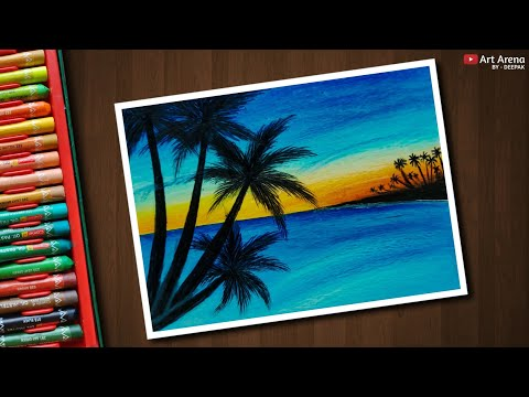 Stream Sea Sunset Scenery Drawing For Beginners With Oil Pastels