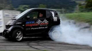 Download Smart Car with Hayabusa Turbo Engine! Smart Hayabusa Donuts and Burnout, Brutal Exhaust Sound! Video