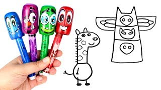 Download Drawing & Coloring with Scentos Bobblehead Markers PJ Masks Peppa Pig Gerald Giraffe Pocoyo Doraemon Video