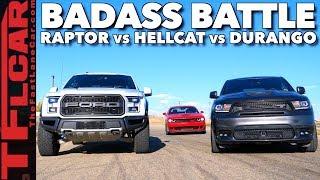Download Almost Lost It! Raptor vs Durango SRT vs Hellcat Drag Race Video
